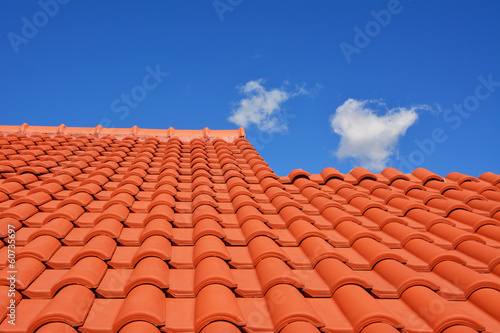 Fotografie, Obraz  red roof texture tile