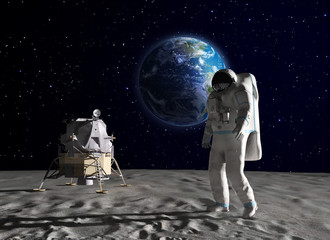 Fototapeta Kosmos Astronaut on the Moon