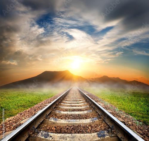 Poster Voies ferrées Railroad to the mountains
