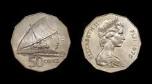 Coin Of The Fiji With Image Of Queen Elizabeth II