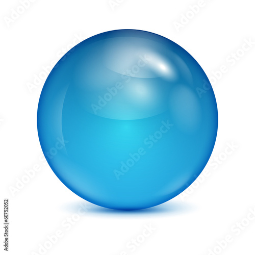 Fotografía  blue glass bowl isolated on white background.shiny sphere.vector