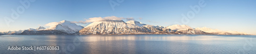 Valokuva  Hi-res panorama of Norwegian fjords into the sea. 1/4.7 Ratio