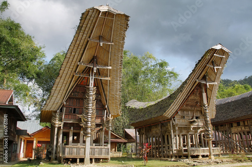 Foto op Canvas Indonesië Toraja traditional village housing in Indonesia