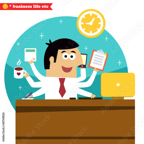 Foto  Multitasking and multipurpose businessman
