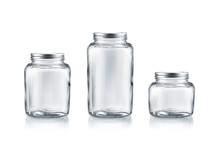 Preserve Glass Jar With Lid Collection Isolated On White