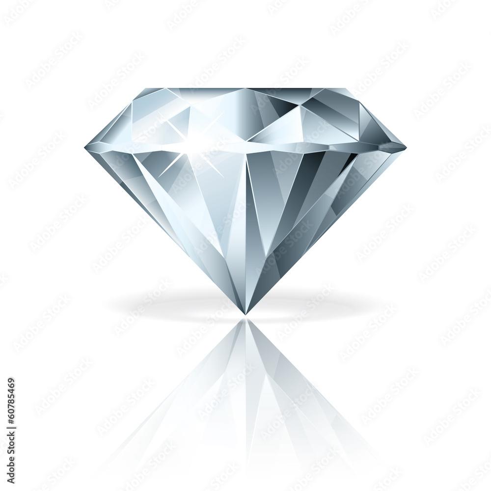 Fototapeta Diamond isolated on white vector illustration