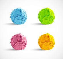 Set Of Crumpled Paper Balls