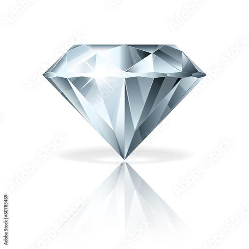 Photo Diamond isolated on white vector illustration