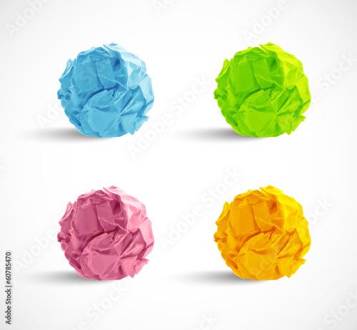 Obraz set of crumpled paper balls - fototapety do salonu