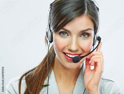 Customer support operator close up portrait. call center smili
