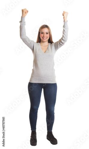 Jubelnde Frau mit guter Laune - ganzer Körper - kaufen Sie