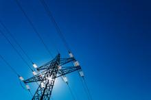 Electricity Pylon Against The Light
