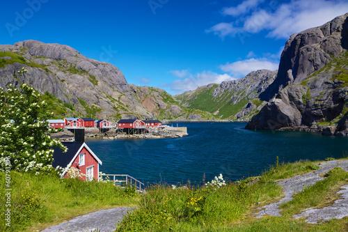 Door stickers Scandinavia Fishing village Nusfjord