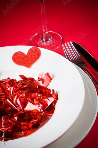 Valentine Day Dinner To Restaurant On Red Table Background Buy