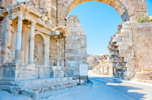Ruins Of Side In Turkey, Arch ...
