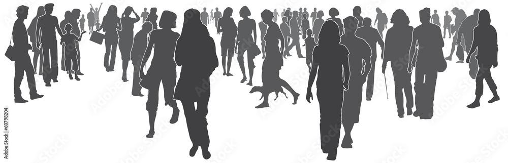 Fototapeta Menschen in der Stadt - Silhouette vektor, anonyme Menschenmenge, Menschengruppe, Stadtleben in der Zukunft, Vision von Gemeinschaft, abstrakt, isoliert, vektor