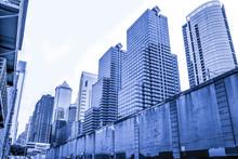 Architecture Of Philadelphia, Pennsylvania, Blue Monochrome
