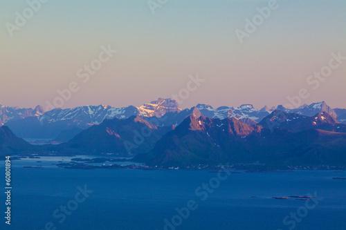 Poster Nouvelle Zélande Scenic mountains on Lofoten
