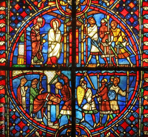 In de dag Stained vitrail d'église