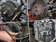 mechaniker zerlegt getriebe
