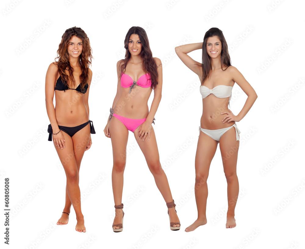 Fototapeta Three beautiful models in bikini - obraz na płótnie