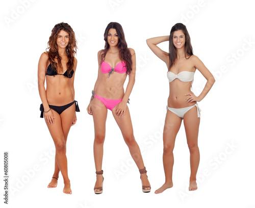 Fototapeta Three beautiful models in bikini obraz na płótnie