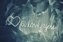Love Symbols On Chalkboard