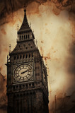 Fototapeta Big Ben - Aged Vintage Retro Picture of Big Ben in London