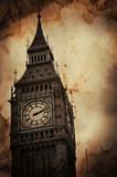 Fototapeta Big Ben - Aged Vintage Retro Picture of Big Ben in London