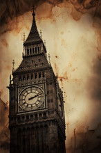 Aged Vintage Retro Picture Of Big Ben In London