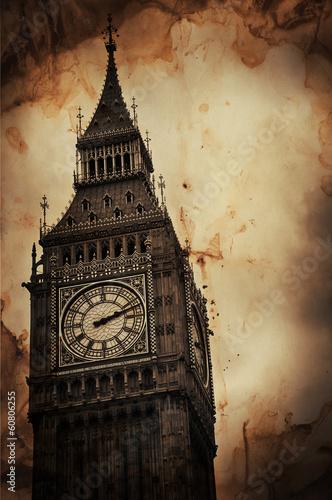 Aged Vintage Retro Picture of Big Ben in London Obraz na płótnie