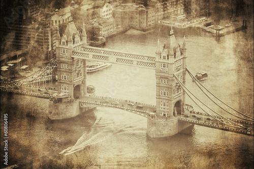 Fotografia  Vintage Retro Picture of Tower Bridge in London, UK