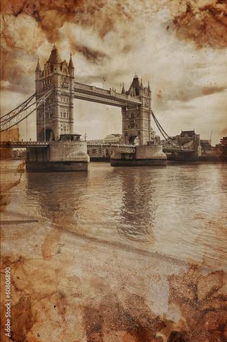 Fotografering  Vintage Retro Picture of Tower Bridge in London, UK
