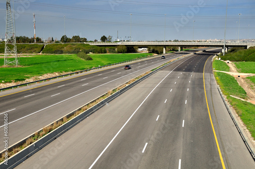 Fotografía  View of landscape with two way highway.  Central Israel.
