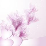 vector background with flowers and hearts