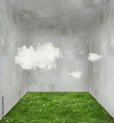 Poster Surrealism Clouds and grass in a room