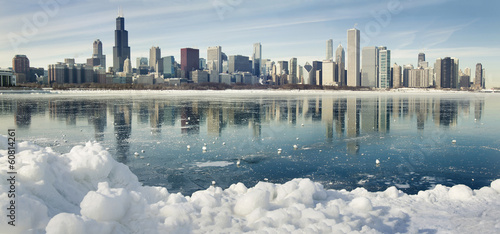 Keuken foto achterwand Chicago Winter panorama of Chicago.