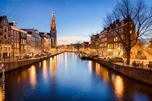 Staande foto Amsterdam Amsterdam at night, Netherlands