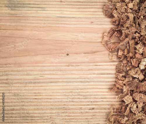 Valokuvatapetti woodchips on fir board