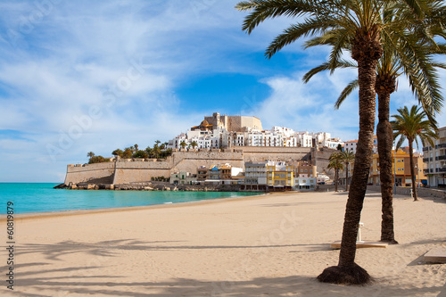 Peniscola Castle and beach in Castellon Spain