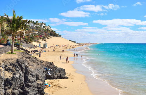 Photo sur Aluminium Iles Canaries Beach of Morro Jable, Fuerteventura, Spain