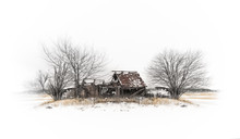 Abandoned Barn On A Hill