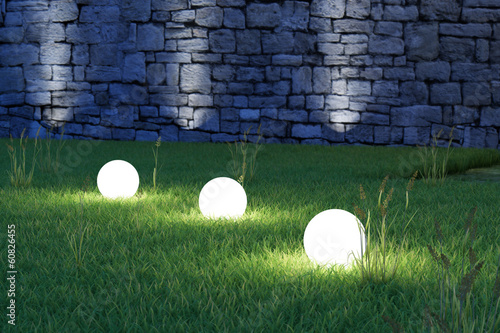 Fotografie, Obraz  Glowing spheres high angle