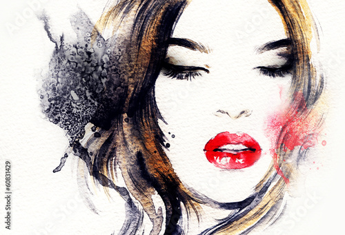 Poster Portrait Aquarelle abstract woman portrait