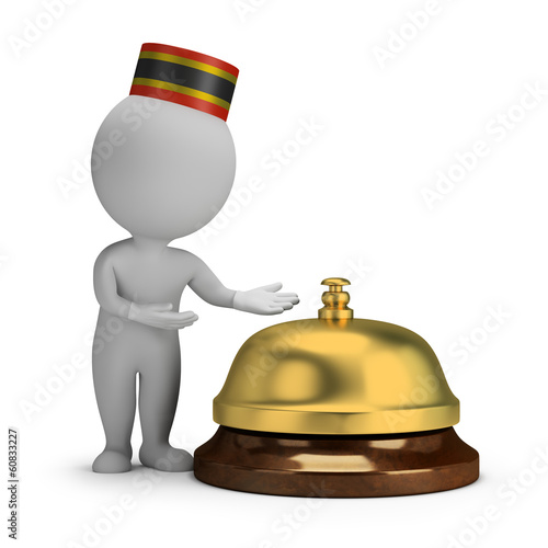 Fotografie, Obraz  3d small people - bellboy and service bell