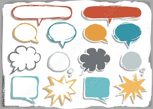Fototapeta puste kolorowe dymki rozmów na białym tle zestaw  kształtów obraz