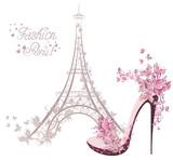 Fototapeta Fototapety z wieżą Eiffla - High-heeled shoes on background of Eiffel Tower. Paris Fashion