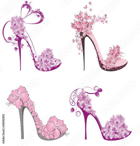 Obraz na plátne Collection shoes on a high heel decorated with flowers