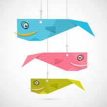 Paper Fish Hang On Strings