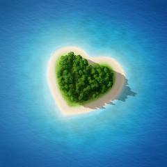 Wspaniały plażowy krajobraz serce - Piękny Plażowy serce